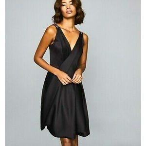NEW Reiss Bubble Hem Satin Black Dress